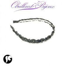 Serre tête tissu et paillettes noire accessoires cheveux cérémonie PROMO neuf