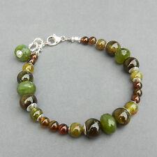 Multi Hued Green Grossular Garnet Peridot Tourmaline Silver U& Sundance Bracelet