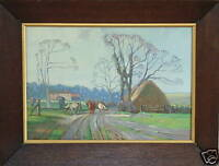 ENGLISH IMPRESSIONIST 19th CENTURY TRANQUIL FARM WITH COWS OIL PAINTING