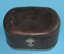 ANCIENNE BOITE A COUTURE BIJOUX EN CUIR ANTIQUE LEATHER SILK SEWING JEWELRY BOX
