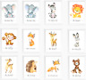 Safari Jungle Animals Nursery Prints Set, Baby Kids Room Pictures Wall Art Decor