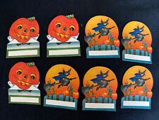 8 Vintage Halloween Party Gift String Hang Name Tag Cards, Witches, Jol's