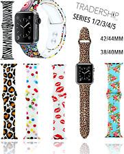 Animal de la impresión floral con dibujos, silicona banda de reemplazo strapfor Apple Watch