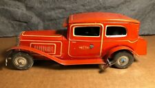 """Vintage Mettoy   1950s   9"""" Tin Large Wind Up Car   Motor works   Great Britain"""