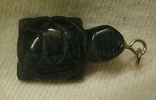 Hand Carved Dark Blue Aqua Aura Turtle Pendant from Brazil gemstone reptile gem
