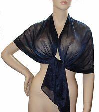 SCIARPA FOULARD Stola collezione donna coprispalle Tinta Unita blu scuro