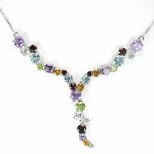 Silver 925 Fancy Genuine Natural Rainbow Gemstone Drop Necklace 19 Inches #2