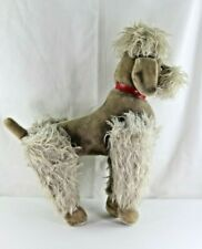 Vintage Circa 1970's Steiff Large Mohair Poodle Red Collar Jointed No Button