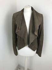 Next Soft Leather Waterfall Brown Jacket Size 14 Rrp £150