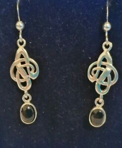 Sterling silver Celtic style drop earrings with black onyx stone
