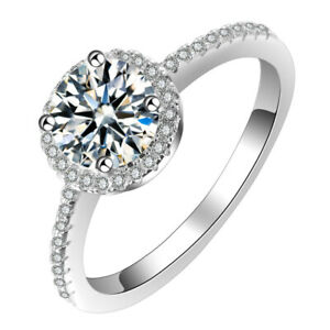 Ladies 925 Sterling Silver 1.25 CT Zircon Wedding Party Ring Best Jewellery Gift