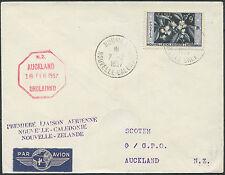 Lettre 1er vol NOUVELLE CALEDONIE (N°286)  NOUVELLE ZELANDE 1957, first flight