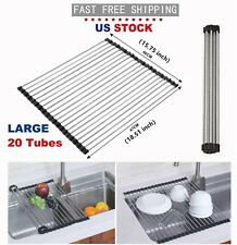 Kitchen Over Sink Dish Drying Rack Roll Up Stainless Steel Colander Drainer Tool