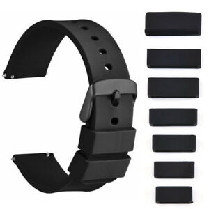 10PC Silicone Rubber Watch Strap Band Keeper Holder Hoop Loop Ring Retainer