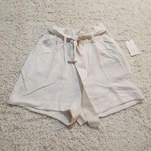 A New Day Shorts Medium Cream Paperbag Waist Medium Shorts Cream Shorts Medium