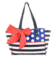 50s Bonnie Sailor Polka Dots strisce Bow Shopper Borsa Rockabilly