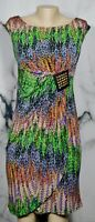 TIANA B. Taupe Multicolor Patterned Dress PM Petite Slight Cap Sl Studded Accent