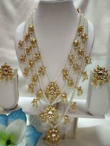 Indian Bollywood Gold Plated White Pearl Necklace & Earrings Wedding Jewelry Set