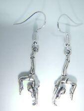 silver Hooks Gymnastics Gift Bag Tibetan Silver 3D Gymnast Earrings Sterling