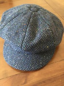 BNWT JOHN LEWIS Ladies Navy HERRINGBONE Baker Boy Cap 57% WOOL One Size FLAT CAP