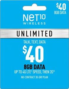 Net10 $40/Month Unlimited Plan Refill --FREE SHIPPING