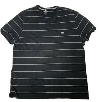 Lacoste Devanlay Size 7 XL Striped Black Mens Vneck