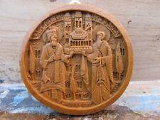 Handmade Greek Orthodox Wax Icon Carved From Mount Athos - Monastic Belt Buckle