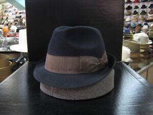 BORSALINO NAVY BLUE FUR FELT TRILBY DRESS HAT (READ DESCRIPTION SIZE)