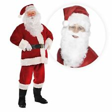 XXL 8 Piece Luxury Plush Santa Claus Costume Fancy Dress Suit FREE Wig and Beard