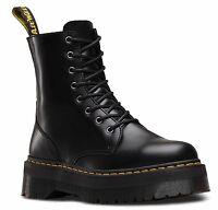 Dr Martens Jadon Smooth Black Leather Side Zip Lace Up Boots