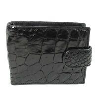 New Genuine Black Alligator Crocodile Leather Mens Bi-fold Closure Wallet.