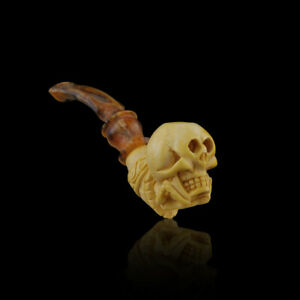 Skull Meerschaum Cigarette Pipe smoking pipe hand carved pfeife with case