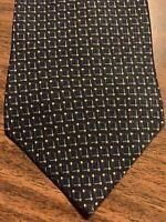 B19 NAUTICA 100% SIlk Tie Men's Blue Foulard Necktie
