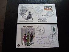 FRANCE - 2 enveloppes 1er jour 1966/1967 (journee du timbre) (cy92) french