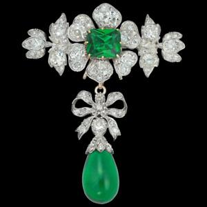 Antique Victorian Flower Brooch Pin Green Emerald & Diamond 14k Yellow Gold Over