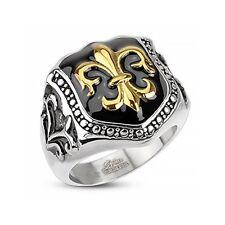 Herren Edelstahl Ring Fleur De Lis Freimaurer Ring Siegelring   70 - Ø 22,20 mm