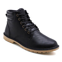 Men's Vintage Lace Up PU Shoes Comfortable Ankle Boots Fashion Walking Sneakers