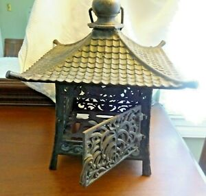 Old Cast Iron Japanese Lantern Pagoda Top Hinged Door Winged Creatures