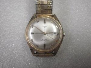 Vintage 1970 21j M75 Men Timex 21 Date Crosshair Wrist Watch 6544 7570A Runs