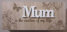 MUM is the sunshine of my life WOODEN BLOCK SIGN PLAQUE FREESTANDING MOTHERS DAY