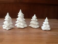 C-0911 Christmas Village Set of (4) different sized trees Ceramic Bisque U Paint