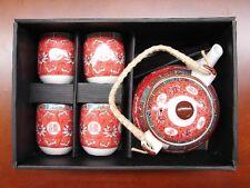 5PCS of Chinese Red Tea Set WangShouWuJiang Longevity