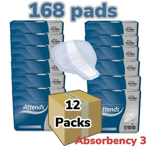 12 X Attends For Men LEVEL 3 (599ml) 12 Packs Of  14 Incontinence Aid Pads Male