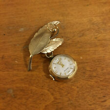 Vintage Croton NIVADA? Gold Filled Leaf Pin F35 A537 17 jewels working