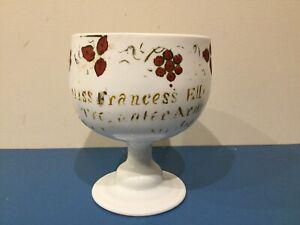 Antique 19th Century Welsh White Glass Drinking Goblet Porthmadog Pub Victorian