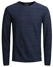 Mens Jumper Jack & Jones Fargo Cotton Crew Neck Sweater Ensign Blue X Large
