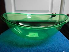 New Oval Serving Bowl Transparent Plastic 11.25 Lgth X 9 wide 4.25 Tall Green