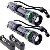 2X Ultrafire 2000 LM Zoomable CREE XM-L T6 LED Flashlight Torch Zoom Lamp Light