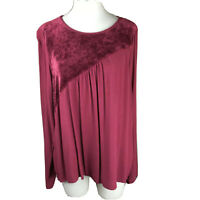 M Made In Italy Womens Tunic Top Size XL Boho Blouse Burgundy Maroon Loose Flowy
