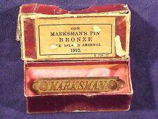 Original R.I.A. Bronze MARKSMAN PIN in Original Box Dated 1912 -